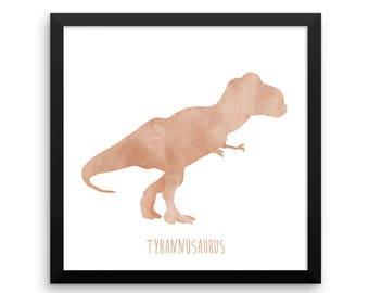 Dinosaur Framed Nursery Print – Orange Tyrannosaurus Rex