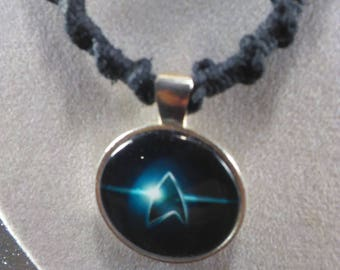 Handmade Hemp Necklace, Star Trek Cabochon
