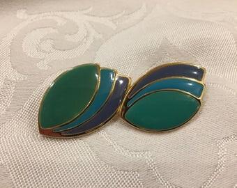 Vintage Green and Blue Enamel Post Earrings