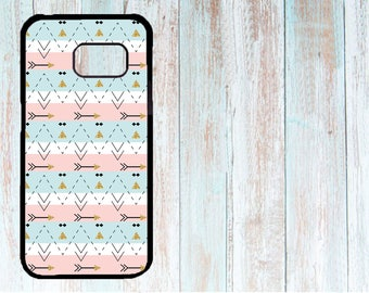 Cover for Samsung, Personalised cover, Custom phone cover, Case for Samsung Galaxy S3/S4/S5/S6/S7 Gold Arrows print with blue pink pattern