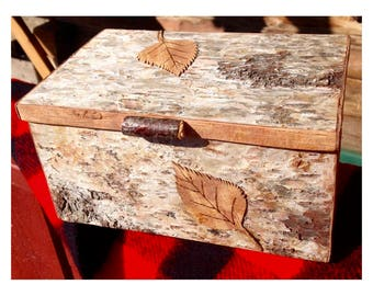 rustic birch bark covered box