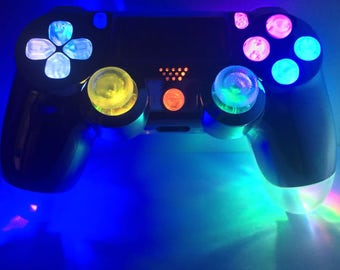 Custom PS4 Dualshock 4 LED Illuminating Controller- Chrome with MultiColor RGB Afterglow