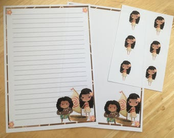 Moana set of 25 sheets letter writing paper and 6 envelope seals
