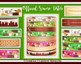 USDR 7/8 Official SMORES Tester on Grosgrain Ribbon, Hair Bows, sewing, camping marshmallow chocolate  graham cookie pink green white brown