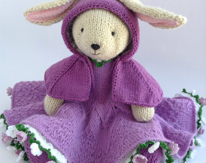 Knit Stuffed Animal Bunny Rabbit, Hand Knitted Toys, Soft Cute Toy Bunny, Handmade Toy Bunny