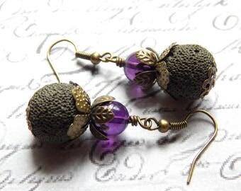 Lava and Amethyst Earrings - Army Green Lava Rock and Purple Amethyst Earrings