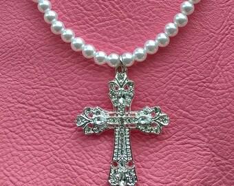 Faux Pearls & Rhinestone Cross Necklace