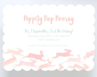 Watercolor Bunnies Invitation // Birthday Party // Baby Shower