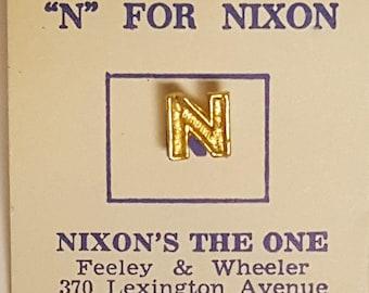"1968 ""N"" For Nixon TIe Tac Pin On Original Card President Richard Nixon's The One"