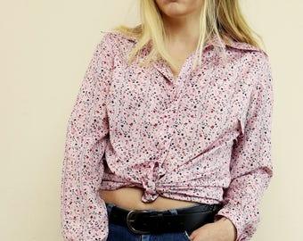 Vintage Pastel Pink Ditsy Floral 70's Shirt