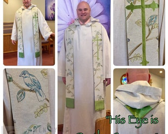 """Clergy Stole for Ordinary time--""""His Eye is On the Sparrow"""""""