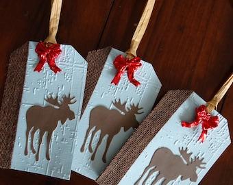 Handmade Embossed, Moose Gift tags