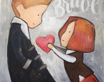 ChildWithinCo - Let us be Brave - original acrylic painting cute modern artwork romantic art wedding gift