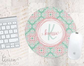 Mint and Coral Mouse Pad, Computer Mouse Pad, Monogram Office Supplies, Monogram Mouse Pad, Personalized Mouse Pad, Custom Mouse Pad LPM12