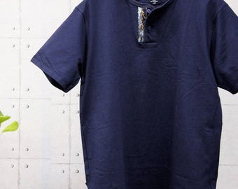 Henley-Neck Plain tee with bleach and paint denim pocket (production orders)