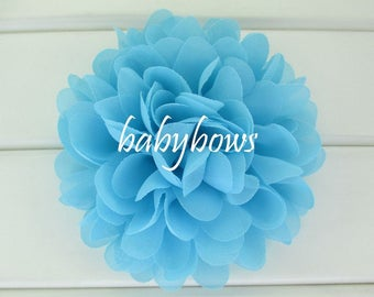 2 Turquoise Blue Big Flower Baby Girl Flower Hair Clips 1 Pair