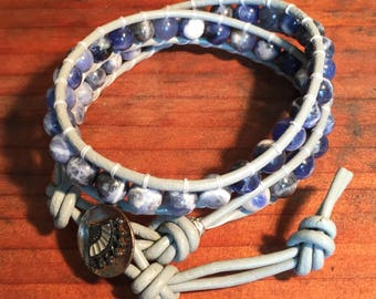 Sodalite, Beaded Leather Wrap Bracelet with Victorian Era Japanese Fan Button Clasp
