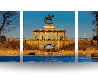 Lincoln Park Statue (Split Panorama)