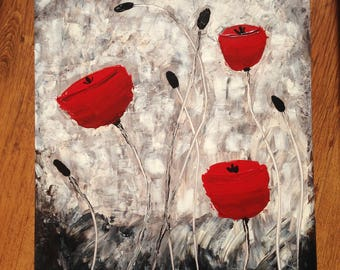 Poppies in the Wind - original acrylic painting, medium size