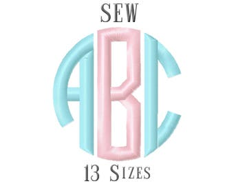 13 SIZE SEW Fonts Circle Monogram Embroidery Fonts Embroidery Designs Embroidery Alphabets Letters Monogram Fonts - Instant Download