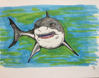 Great white, original A4 pen drawing SHARK