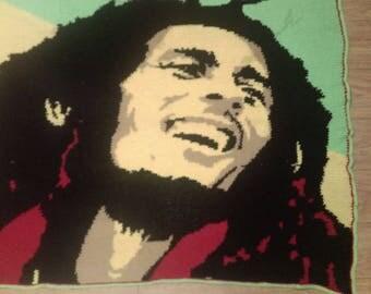 Bob Marley crochet blanket