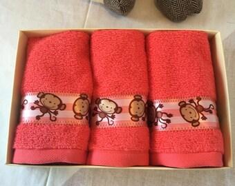 Children Decorative Face Towel with monkey trim