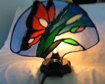 Stained glass monarch butterfly fan lamp.