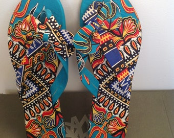 African print fabric slippers, slippers, footwear, size 7 slippers, pinch of print,