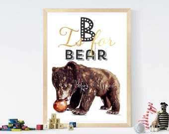 B is for bear  alphabet Children room quote art PRINT 11'' x 13'' hand drawn print