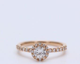 18K Rose Gold Halo Diamond Ring