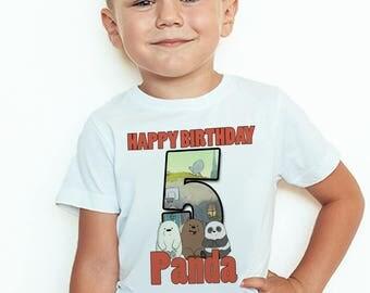 We Bare Bears Birthday T-Shirt Custom We Bare Bears Birthday Boy Personalized Shirt Custom Name & Age Party Favors