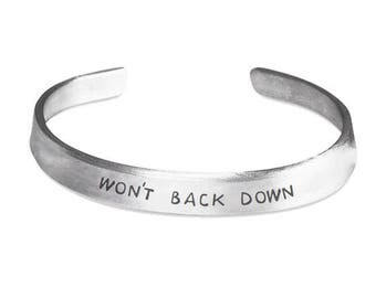 WON'T BACK DOWN Bracelet - Inspirational Jewelry - Motivational Gift - Johnny Cash - Stamped Metal Bangle - One Size Fits All