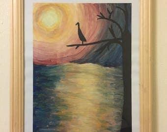 bird at sunset acrylic painting
