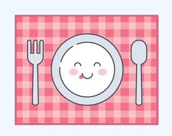 cute pillow clipart. cute plate, spoon, fork, dinner mat clip art - vector illustration of pillow clipart