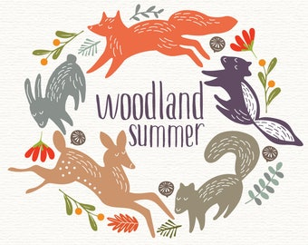 Woodland Animals, vector, woodland creatures, woodland clipart, fox clipart, deer clipart, fawn clip art, hand drawn wreath, woodland wreath