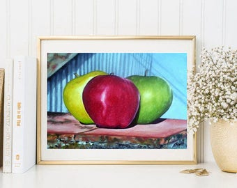 Apples-Digital Art Print, Apples, Fruits Art Print from my Original Oil Painting,  Kitchen Art Print, Instant Download Printable Art, Apple