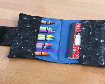Crayon Notepad Holder Medium- Black Stars w/ Blue - Toddler Coloring, Kids Art Supplies, Crayon Holder, Crayon Notebook, Stocking Stuffer