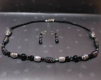 Iridescent Twist Necklace and Earring Set