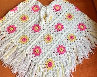 kids ponchos, crochet ponchos, knit, handmade (2-4 years old)