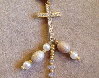 Tan leather cross with beaded dangles necklace
