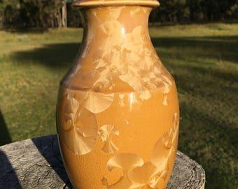 Brown crystalline vase