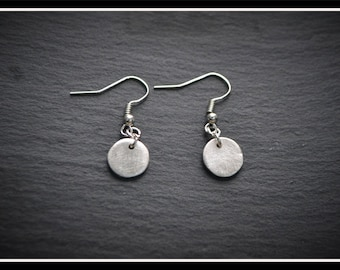 Circle Small Drop Earrings, Silver Precious Metal Clay (PMC), Handmade, Earrings - (Product Code: ACM008-17)