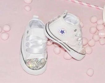 Luxe Crystal Custom Baby Crib Converse Soft Sole Infant Rhinestone Sides Bows Customized Strass Christening Baptism Wedding Flower Girl