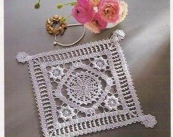 Square lace crochet doily 11.4 inches