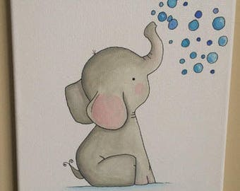 Toby the Elephant- Nursery Wall Art, Baby Nursery Wall Decor, Baby Nursery Art, Elephant Nursery, Baby Elephant Decor, Grey Nursery