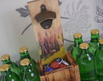 Personalised pallet beer bottle opener catcher