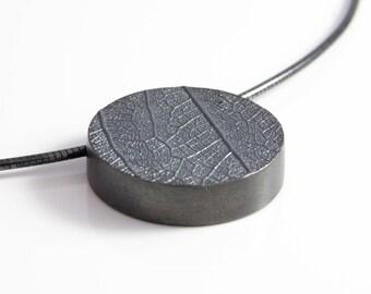 925 Silver Necklace dark leaf