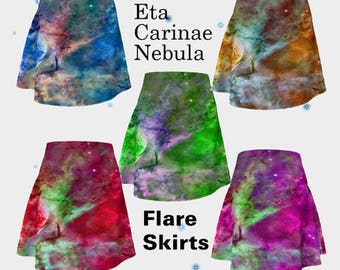Eta Carinae Nebula, Flare Skirt, Skirt, Fashion, Women's Fashion, Trendy Skirt, Red, Purple, Green, Blue, Turquoise, Nebula, Sky, Stars