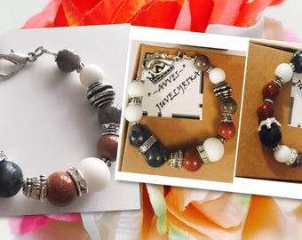 Sunstone Fashon bracelet, AVVEI white, black bracelets, hand made, handmade, jewelry